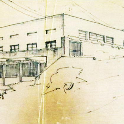 original drawing by architect Arie Sharon ( north west elevation)