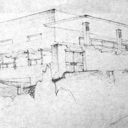 original drawing by architect Arie Sharon (north west elevation)