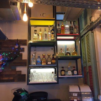 Bar custom made lighed back wall iron shelves